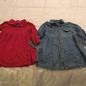 2 Preppy Dresses Red Polo and Gap Denim